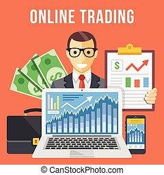 plano, comercio, ilustración, en línea