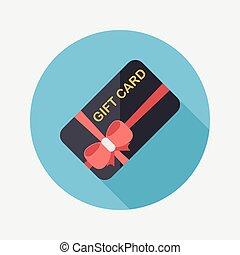 plano, compras, sombra, regalo, largo, tarjeta, icono