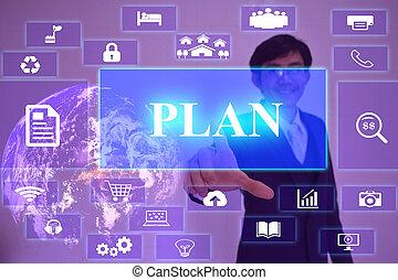 plano, conceito, apresentado, por, homem negócios, tocar, ligado, virtual, tela, elemento, fornecido, por, nasa