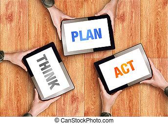 plano, conceito, pense negócio, ato