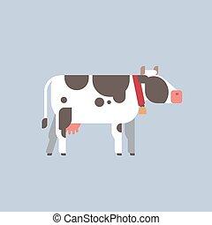 plano, concepto, animal, vaca, gris, granja, doméstico, ...