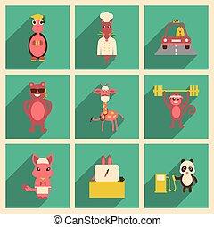 plano, concepto, animales, iconos, largo, sombra