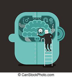 plano, concepto, buscando, ilustración, cerebro, diseño