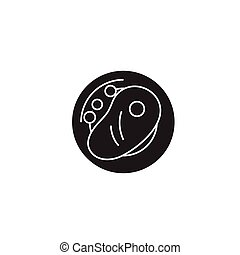 plano, concepto, carne, ilustración, vegetales, señal, vector, negro, asado parrilla, icon.