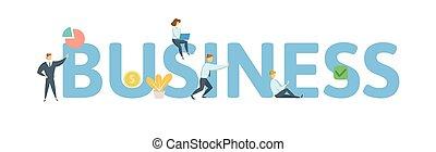 plano, concepto, cartas, illustration., gente, business., icons., aislado, fondo., vector, blanco