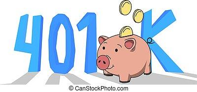 plano, concepto, coloreado, retirement., cuenta, ilustración, letters., 401k, fondo., vector, pensión, blanco, banco, cerdito