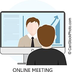 plano, concepto, colorido, conferencias, en línea,...