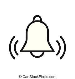 plano, concepto, contorno, campana, simple, alarma, vector,...