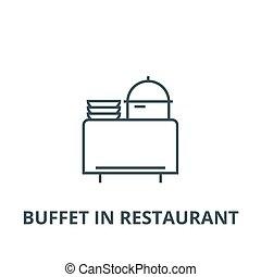plano, concepto, contorno, restaurante, señal, buffet, ...