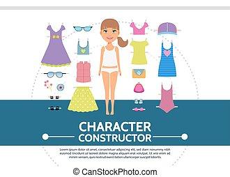 plano, concepto, creación, carácter, hembra, redondo