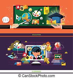 plano, concepto, diseño, aprendizaje, educación en línea
