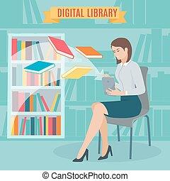 plano, concepto, electrónico, library.