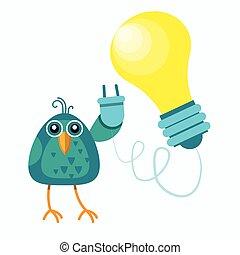 plano, concepto, enchufe, sentado, luz, idea, rama, bombilla, nuevo, asimiento, pájaro