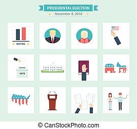 plano, concepto, estados unidos de américa, iconos, set., símbolos, presidental, elección, voto, style.