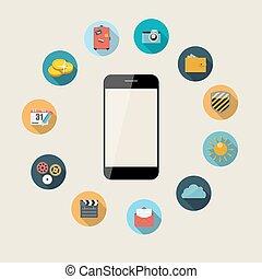 plano, concepto, illustration., móvil, apps, teléfono,...