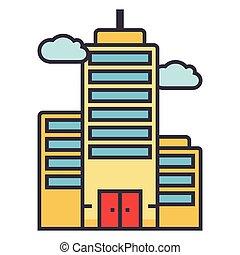 plano, concepto, ilustración, aislado, vector, skyscrapper, ...