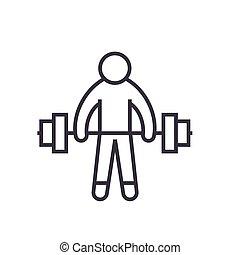 plano, concepto, ilustración, atleta, aislado, vector, pesas, plano de fondo, línea, fuerte, blanco, elevación, icono