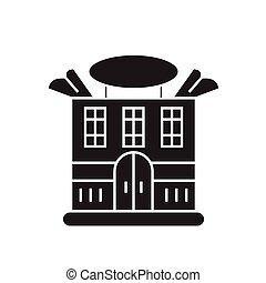 plano, concepto, ilustración, casa, señal, vector, negro, icon., prominente