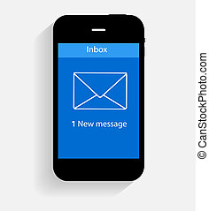 plano, concepto, ilustración, vector, inbox, correo