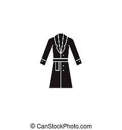 plano, concepto, invierno, ilustración, chamarra, señal, vector, negro, icon., abrigoligero