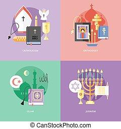 plano, concepto, islam, catolicismo, iconos, judaism.,...