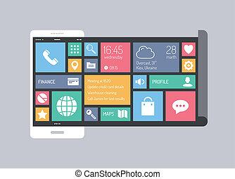 plano, concepto, móvil, moderno, interfaz de usuario