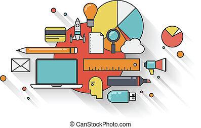 plano, concepto, negocio moderno, ilustración
