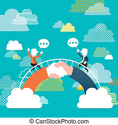 plano, concepto, puente, comunicación, ilustración, diseño