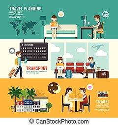 plano, concepto, sentado, empresarios, viaje, salida, icons...