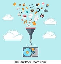 plano, concepto, túnel, grande, filtro, datos