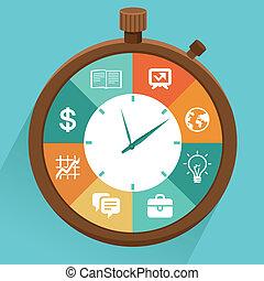 plano, concepto, -, vector, gerencia de tiempo