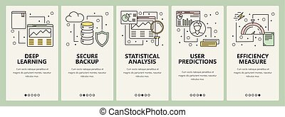 plano, concepto, vertical, ciencia, vector, diseño, línea fina, datos, banderas