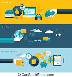 plano, conceptos, comercio electrónico, diseño