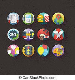 plano, conjunto, 5, textured, iconos