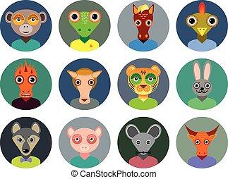 plano, conjunto, animales, chino, iconos, colección, círculo, infographics, moderno, zodíaco, design., style., caras