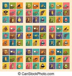 plano, conjunto, animales, iconos, largo, sombra