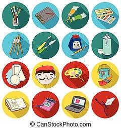 plano, conjunto, artista, grande, símbolo, iconos, colección, dibujo, vector, ilustración, style., acción