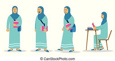 plano, conjunto, carácter, musulmán, estudiante...