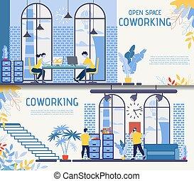 plano, conjunto, centro, oficina, coworking, vector, ...
