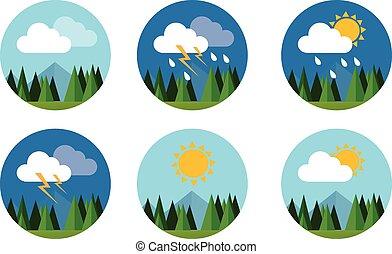 plano, conjunto, cielo, soleado, pronóstico, vector, trueno...