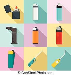 plano, conjunto, cigarrillo, estilo, iconos, encendedor