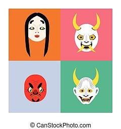 plano, conjunto, color, demonio, japonés, máscaras