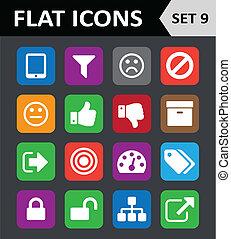 plano, conjunto, colorido, 9., universal, icons.