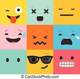 plano, conjunto, colorido, emoticons, patrón, backgound, ...