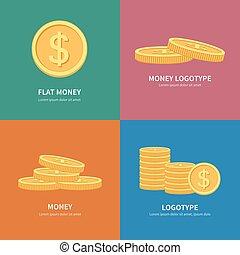 plano, conjunto, colorido, espacio, texto, coins, logotipos...