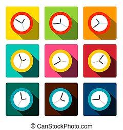 plano, conjunto, colorido, reloj, iconos, vector