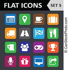 plano, conjunto, colorido, universal, icons., 5.