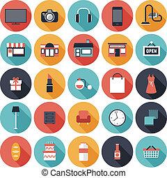 plano, conjunto, compras, iconos