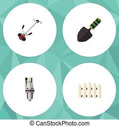 plano, conjunto, elements., barrera, dacha, herramienta, ...