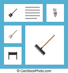 plano, conjunto, elements., dacha, bomba, objects., incluye...